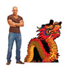 Life-size cardboard standee of a Chinese New Year Night Dragon with model.