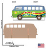 Life-size cardboard standin of Hippie Bus with back and front dimensions.