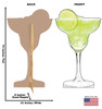 Life-size cardboard standee of a Margarita Glass with back and front dimensions.