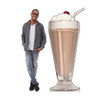 Life-size cardboard standee of a Chocolate Milk Shake with model.