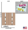 Life-size cardboard standee of a 90's Backdrop double wide with back and front dimensions.