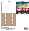 Life-size cardboard standee of a 50's Backdrop double wide with back and front dimensions.