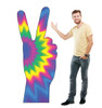 Life-size cardboard standee of 70's Peace Fingers with model.