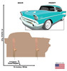Life-size cardboard standee of 50's Car with back and front dimensions.