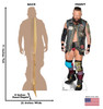 Life-size cardboard standee of Eric Young - WWE with front and back dimensions.