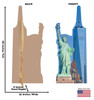 This is a life-size cardboard standee of the New York Skyline with front and back dimensions.
