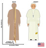 This is a life-size cardboard standee of the Pope in a white outfit with front and back dimension.