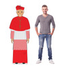 This is a life-size cardboard standee of the Pope in a red outfit with model.