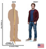Life-size cardboard standee of Archie Andrews from the TV Series Riverdale with back and front dimensions.