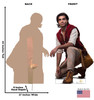 Life-size cardboard standee of Aladdin from the Disney live action movie with front and back dimensions.