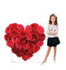 Life-size cardboard standee of Red Roses Heart with model.