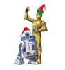 Coroplast outdoor standee of R2-D2 and C-3PO with holiday hats.