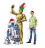 Coroplast outdoor standee of R2-D2 and C-3PO with holiday hats with model.