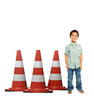 Life-size cardboard standee of construction cones (set of 3)  with model.