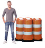 Life-size cardboard standee of construction barrels (set of 3)  with model.