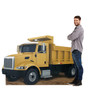 Life-size cardboard standee of construction dump truck with model.