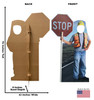 Life-size cardboard standee of Construction Worker Stop Sign Standin with back and front dimensions.