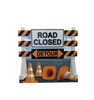 Life-size cardboard standee of a Road Closed Detour Sign Standee .
