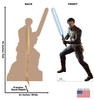 Life-size cardboard standee of Cal Kestis fromt Jedi Fallen Order with back and front dimensions.