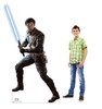 Life-size cardboard standee of Cal Kestis from Jedi Fallen Order with model.