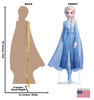 Life-size cardboard standee of Elsa from Disney's Frozen 2) with back and front dimensions.