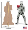 Life-size cardboard standee of Stormtrooper Officer™ (Star Wars IX) with back and front dimensions.