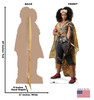 Life-size cardboard standee of Jannah™ (Star Wars IX) with back and front dimensions.