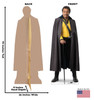 Life-size cardboard standee of Lando Calrissian™ (Star Wars IX) with back and front dimensions.