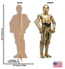 Life-size cardboard standee of C-3PO™ (Star Wars IX) with back and front dimensions.