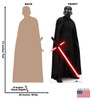 Life-size cardboard standee of Kylo Ren™ (Star Wars IX) with back and front dimensions.