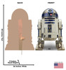 Life-size cardboard standee of R2-D2™ (Star Wars IX) with back and front dimensions.