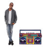 Life-size illustrated portable stereo standee with model.