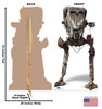 Life-size cardboard standee of AT-ST Raider from The Mandalorian with back and front dimensions.