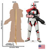 Life-size cardboard standee of Incinerator Trooper from The Mandalorian with back and front dimensions.