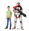Life-size cardboard standee of Incinerator Trooper from The Mandalorian with model.