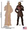 Life-size cardboard standee of The Armorer  from The Mandalorian with back and front dimensions.