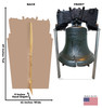 Life-size cardboard standee of the Liberty Bell with front and back dimensions.