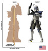 Life-size cardboard standee of the character Captain Rex from Clone Wars Season 7 with front and back dimensions.