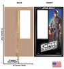 Life-size cardboard standin of Luke Skywalker Packaging. Celebrating 40 years, with front and back dimensions.