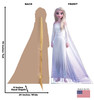 Life-size cardboard standee of Elsa Epilogue Gown from Disney's Frozen 2 with back and front dimensions.