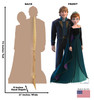 Life-size cardboard standee of Anna and Kristoff from Disney's Frozen 2 with back and front dimensions.