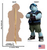 Life-size cardboard standee of Barley from Disney/Pixar's film Onward with front and back dimensions.