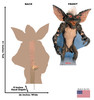 Life-size cardboard standee of a Gremlin from the movie Gremlins with front and back dimensions.