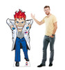 Life-size cardboard standee of a Mad Scientist from VP Racing Fuels with model.