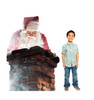 Life-size cardboard standee of Santa in a Chimney with model.
