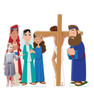 Life-size cardboard standee set of Jesus on the Cross with model.