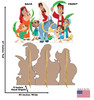 Life-size cardboard standee set of Palm Sunday with front and back dimensions.