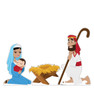 Life-size cardboard standee set of the Nativity.