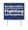 Coroplast yard sign, shown with h-stake.