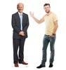 Life-size standee of Joe Biden with model.